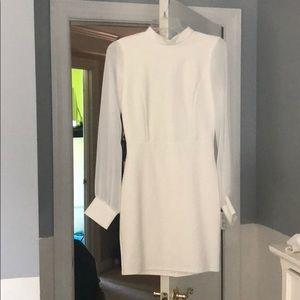 White LuLu's Mesh Long Sleeved Backless Dress